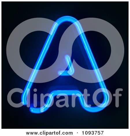 Clipart Blue Neon Capital Letter A - Royalty Free CGI Illustration by stockillustrations
