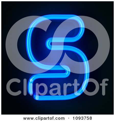 Clipart Blue Neon Capital Letter S - Royalty Free CGI Illustration by stockillustrations