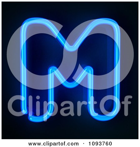 Clipart Blue Neon Capital Letter M - Royalty Free CGI Illustration by stockillustrations