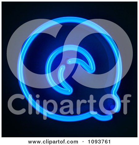 Clipart Blue Neon Capital Letter Q - Royalty Free CGI Illustration by stockillustrations