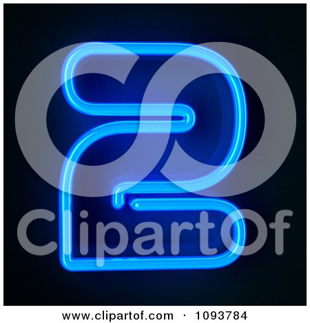 Clipart Blue Neon Number Two 2 - Royalty Free CGI Illustration by stockillustrations