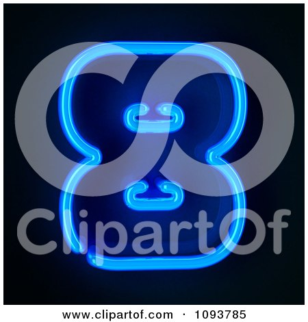Clipart Blue Neon Number Eight 8 - Royalty Free CGI Illustration by stockillustrations