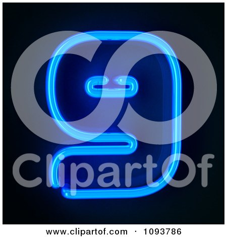 Clipart Blue Neon Number Nine 9 - Royalty Free CGI Illustration by stockillustrations
