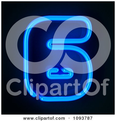 Clipart Blue Neon Number Six 6 - Royalty Free CGI Illustration by stockillustrations