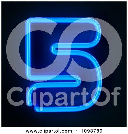 Clipart Blue Neon Number Five 5 - Royalty Free CGI Illustration by stockillustrations