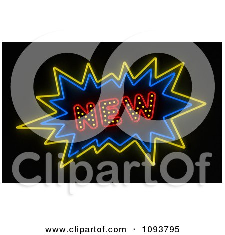 Clipart Neon New Burst Sign - Royalty Free CGI Illustration by stockillustrations