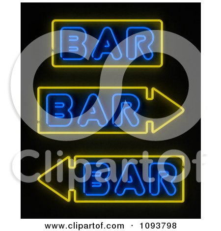 Clipart Neon Bar Signs With Arrows - Royalty Free CGI Illustration by stockillustrations
