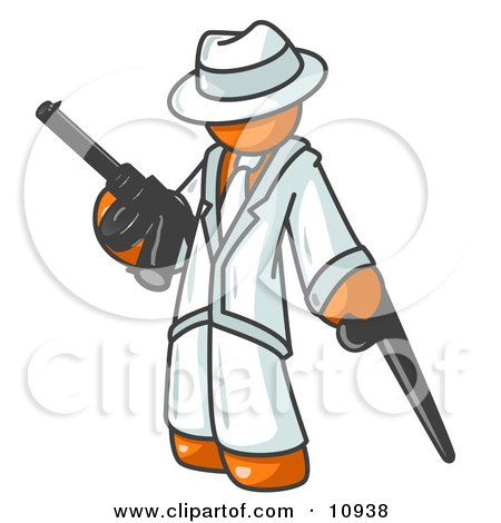 Orange Gangster Man Carrying Guns Clipart Illustration by Leo Blanchette