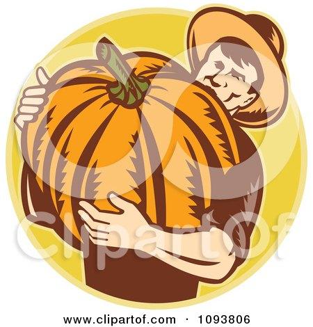 Clipart Retro Pumpkin Farmer Carrying A Big Gourd - Royalty Free CGI Illustration by patrimonio
