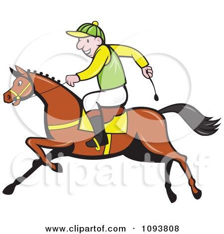 Clipart Male Jockey Riding A Race Horse - Royalty Free Vetor Illustration by patrimonio