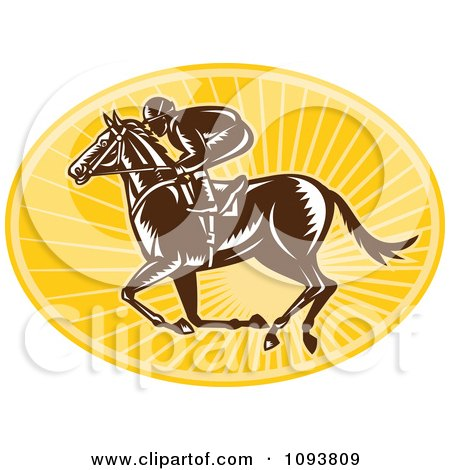 Clipart Retro Derby Jockey Racing A Horse Over Yellow Rays - Royalty Free Vetor Illustration by patrimonio