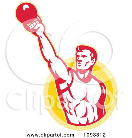 Clipart Retro Male Bodybuilder Lifting A Kettle Bell - Royalty Free CGI Illustration by patrimonio