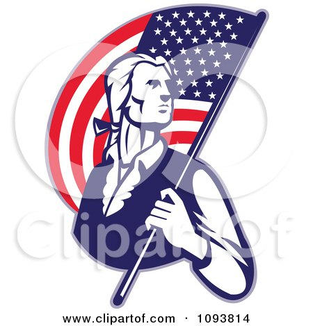 Clipart Retro Patriotic Man Carrying An American Flag - Royalty Free CGI Illustration by patrimonio