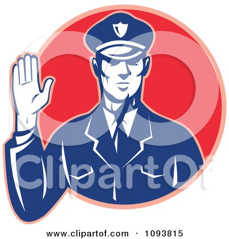 Clipart Retro Police Man Holding Up A Hand To Stop - Royalty Free CGI Illustration by patrimonio