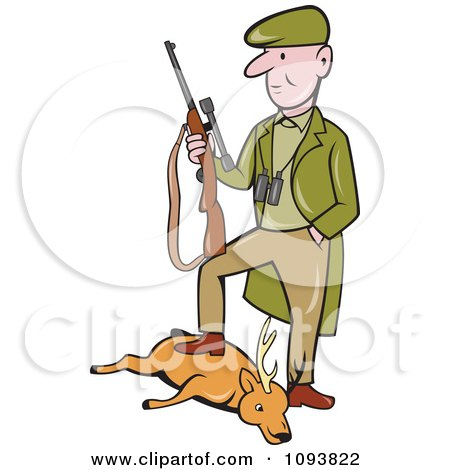 Clipart Male Hunter Holding His Rifle And Resting A Foot On His Deer - Royalty Free Vetor Illustration by patrimonio