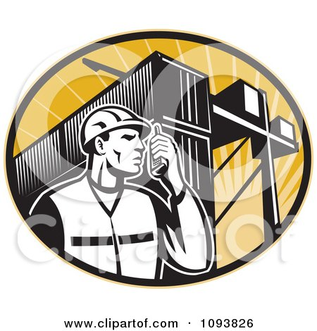 Clipart Retro Dock Worker Using A Walkie Talkie - Royalty Free CGI Illustration by patrimonio