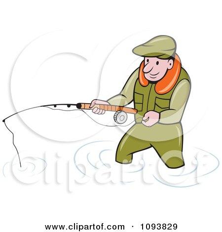 Clipart Wading Fisherman Holding A Pole - Royalty Free Vetor Illustration by patrimonio