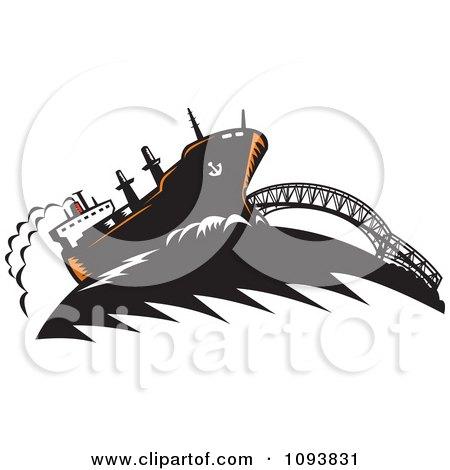 Clipart Freighter Ship And Bridge - Royalty Free CGI Illustration by patrimonio