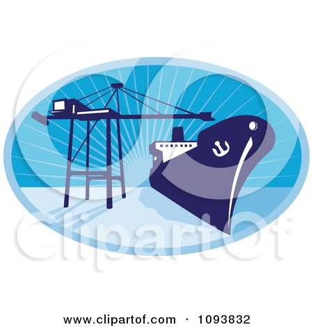 Clipart Blue Container Ship And Crane Over Rays - Royalty Free CGI Illustration by patrimonio