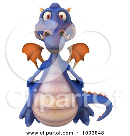 Clipart 3d Purple Dragon - Royalty Free CGI Illustration by Julos