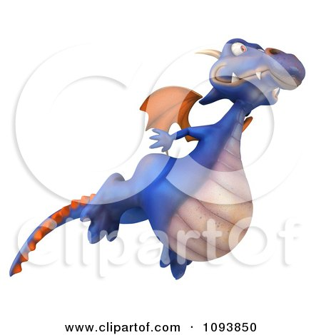 Clipart 3d Purple Dragon Flying 2 - Royalty Free CGI Illustration by Julos