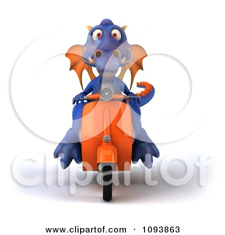 Clipart 3d Purple Dragon Riding A Scooter 2 - Royalty Free CGI Illustration by Julos