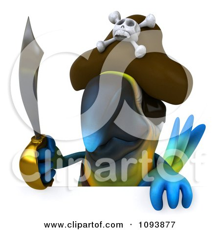 Clipart 3d Blue Macaw Parrot Pirate Holding A Sword Over A Sign - Royalty Free CGI Illustration by Julos