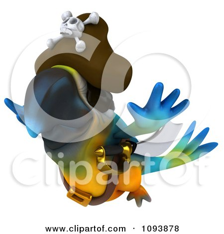 Clipart 3d Blue Macaw Parrot Pirate Flying - Royalty Free CGI Illustration by Julos