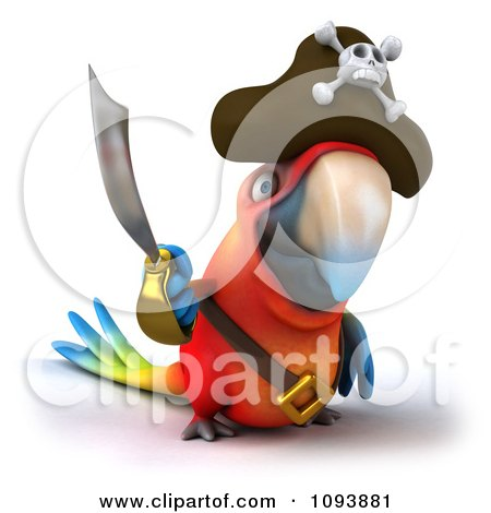 Clipart 3d Macaw Parrot Pirate Holding A Sword - Royalty Free CGI Illustration by Julos