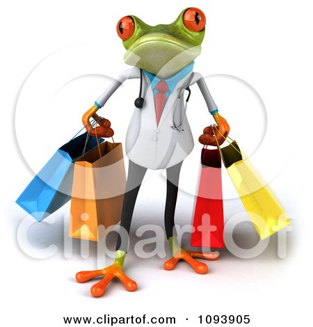Clipart 3d Doctor Springer Frog Carrying Shopping Bags 1 - Royalty Free CGI Illustration by Julos