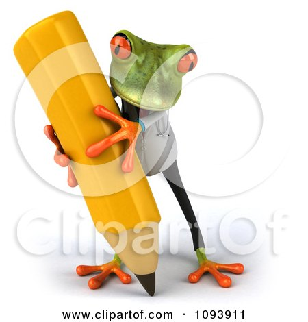 Clipart 3d Doctor Springer Frog Using A Pencil 2 - Royalty Free CGI Illustration by Julos