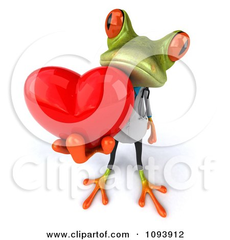 Clipart 3d Doctor Springer Frog Holding A Heart 2 - Royalty Free CGI Illustration by Julos
