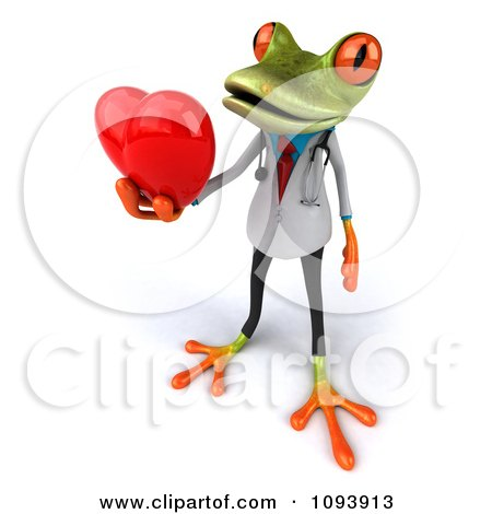 Clipart 3d Doctor Springer Frog Holding A Heart 3 - Royalty Free CGI Illustration by Julos