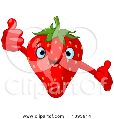 Clipart Happy Strawberry Character Holding A Thumb Up - Royalty Free Vector Illustration by Pushkin