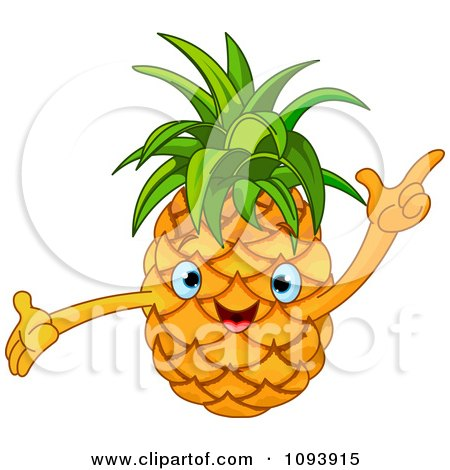 Clipart Happy Pineapple Character Holding A Finger Up - Royalty Free Vector Illustration by Pushkin