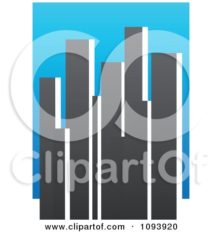 Clipart Blue White And Gray Urban Skyscraper Logo 2 - Royalty Free Vector Illustration by elena