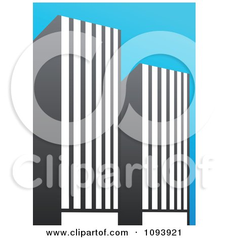 Clipart Blue White And Gray Urban Skyscraper Logo 5 - Royalty Free Vector Illustration by elena