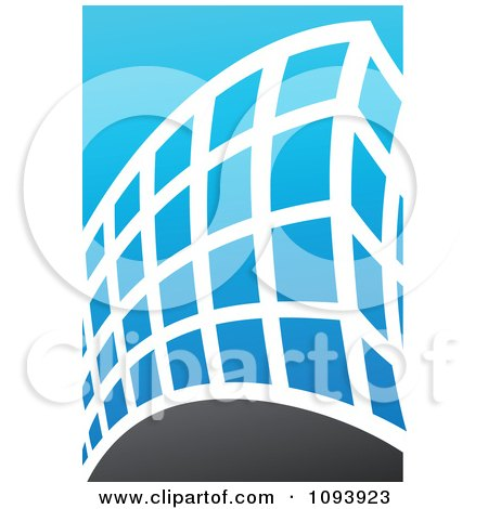 Clipart Blue White And Gray Urban Skyscraper Logo 7 - Royalty Free Vector Illustration by elena
