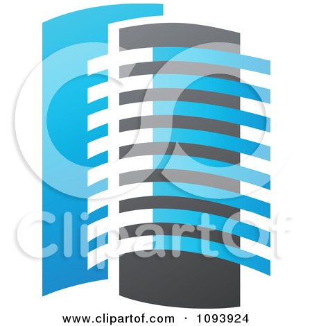 Clipart Blue White And Gray Urban Skyscraper Logo 8 - Royalty Free Vector Illustration by elena