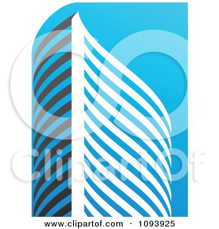 Clipart Blue White And Gray Urban Skyscraper Logo 9 - Royalty Free Vector Illustration by elena