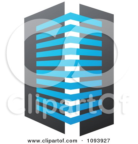 Clipart Blue White And Gray Urban Skyscraper Logo 11 - Royalty Free Vector Illustration by elena