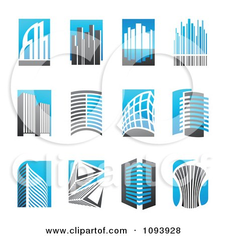 Clipart Blue White And Gray Urban Skyscraper Logos - Royalty Free Vector Illustration by elena