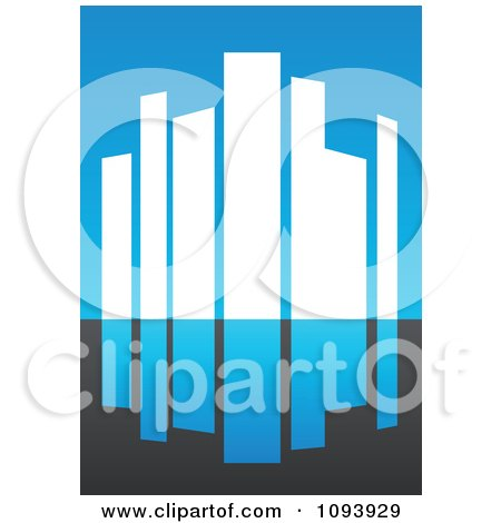 Clipart Blue White And Gray Urban Skyscraper Logo 3 - Royalty Free Vector Illustration by elena
