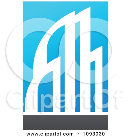 Clipart Blue White And Gray Urban Skyscraper Logo 1 - Royalty Free Vector Illustration by elena