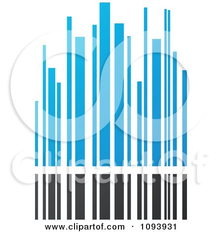Clipart Blue White And Gray Urban Skyscraper Logo 4 - Royalty Free Vector Illustration by elena