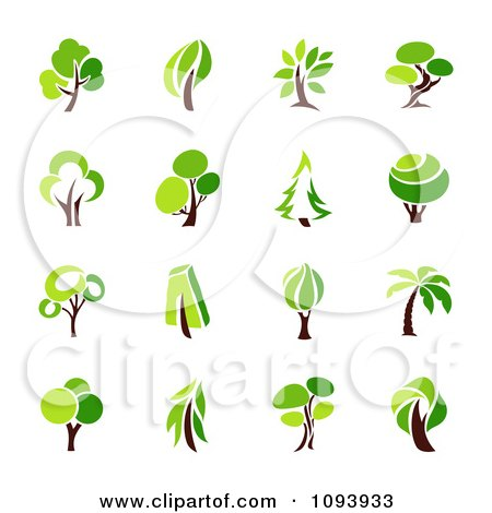 Clipart Green Tree Logos - Royalty Free Vector Illustration by elena