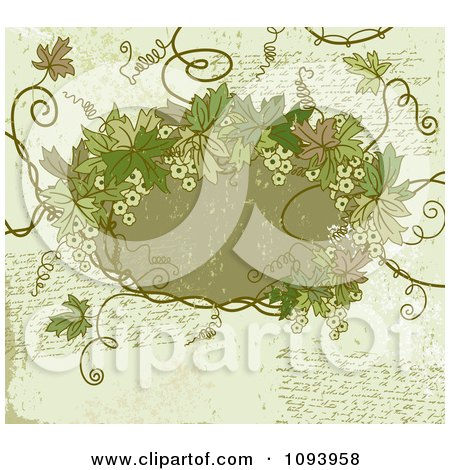 Clipart Grungy Green Background With Handwriting And A Frame With Leaves - Royalty Free Vector Illustration by elena