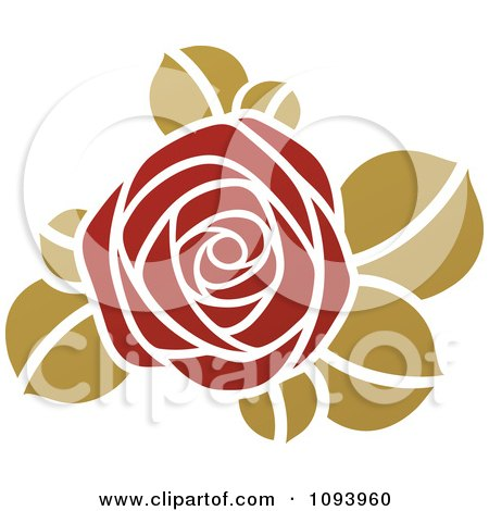 Red And Green Rose Logo Posters, Art Prints