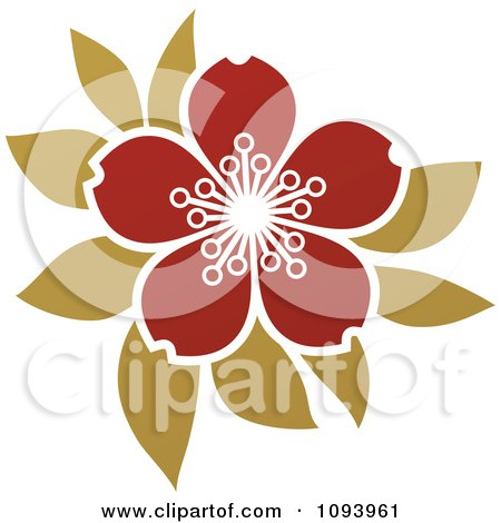 Clipart Red And Green Blossom Logo - Royalty Free Vector Illustration by elena