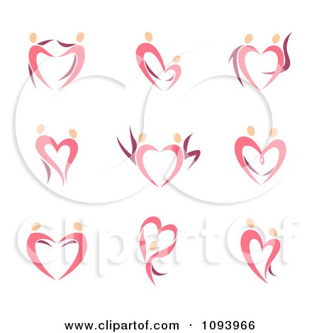 Clipart Dancing Pink Heart People - Royalty Free Vector Illustration by elena
